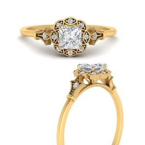 Moissanite Antique Halo Ring