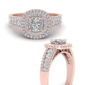 Lab Diamond 3 Row Double Halo Ring