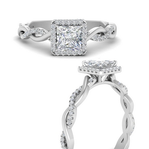 Moissanite Intertwined Halo Ring