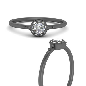 Black Gold Antique Solitaire Ring