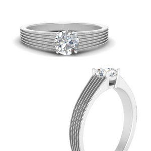 Thick Band Solitaire Antique Ring
