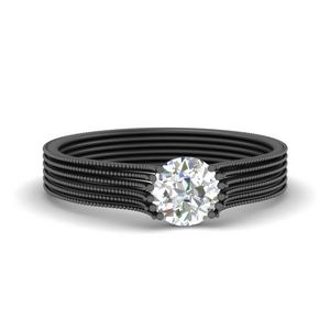 Thick Band Round Solitaire Ring