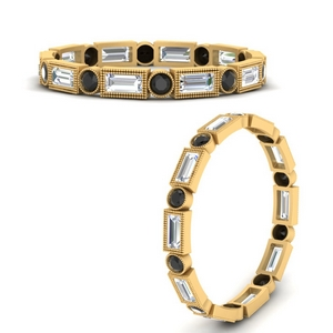 vintage-baguette-and-round-wedding-band-with-black-diamond-in-FD9971BGBLACKANGLE3-NL-YG