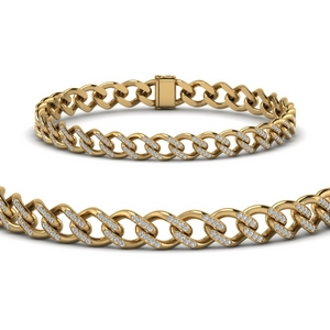 Cuban Diamond Gold Bracelet 9 mm