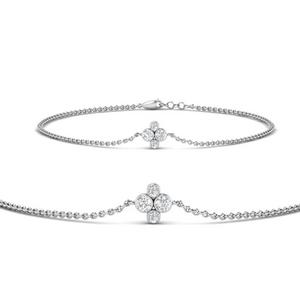 Chain Four Diamond Stack Bracelet