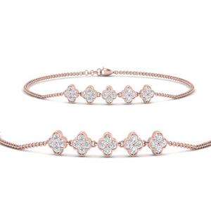 Flower Diamond Chain Bracelet
