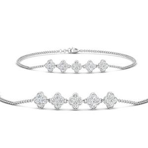 Flower Diamond Chain Stack Bracelet