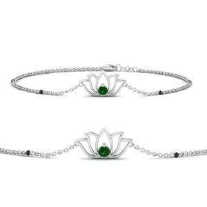 Cute Lotus Emerald Chain Bracelet