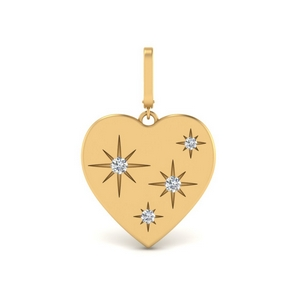 Heart Starburst Diamond Charm