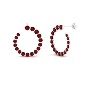Ruby Circle Stud Earring