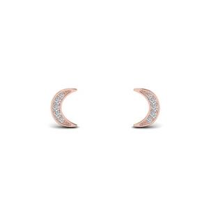 Crescent Diamond Stud Earring