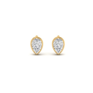 Tiny Bezel Set Pear Shape Earring