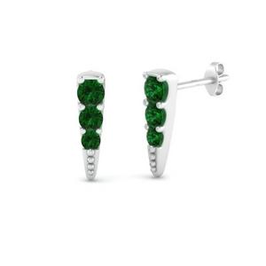 Tiny Spike Emerald Earring