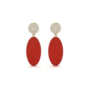 Diamond And Coral Dangle Earring