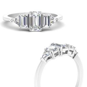 Emerald Cut 5 Stone Trillion Ring