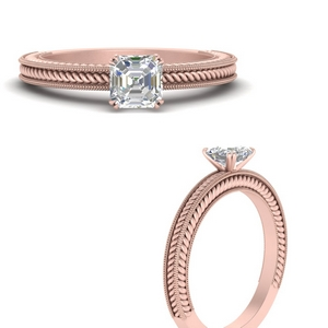 Asscher Solitaire Lab Diamond Rings