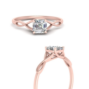 Twisted Asscher Solitaire Ring
