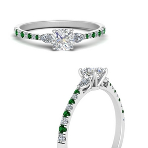 pear-3-stone-cathedral-cushion-cut-diamond-engagement-ring-with-emerald-in-FDENR263CURGEMGRANGLE3-NL-WG