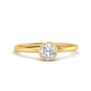 Bezel Round Solitaire Minimalist Ring