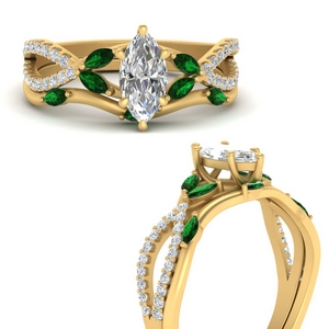 vine-willow-marquise-cut-diamond-ring-with-emerald-willow-wedding-set-in-FDENR3211BMQGEMGRANGLE3-NL-YG
