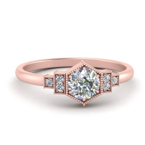 Vintage Hexagon Lab Diamond Ring