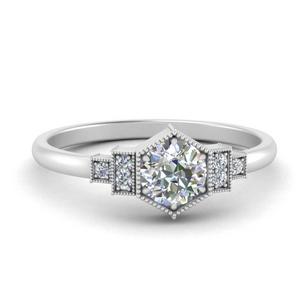 Vintage Round Moissanite Ring
