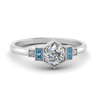 Milgrain Hexagon Engagement Ring