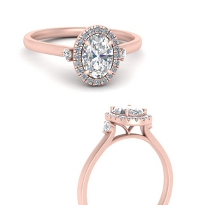 Oval Diamond Halo Engagement Rings