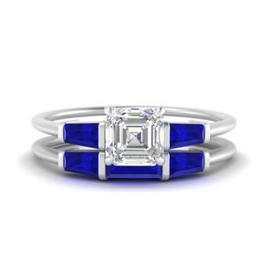 asscher-cut-bar-set-sapphire-ring-with-matching-3-baguette-wedding-band-in-FDENS100ASGSABL-NL-WG