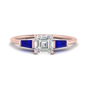 Rose Gold Asscher Cut 3 Stone Engagement Rings