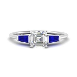 Asscher 3 Stone Lab Diamond Rings