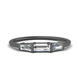 Black Baguette Gold Band Ring