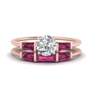 round-cut-bar-set-pink-sapphire-ring-with-matching-3-baguette-wedding-band-in-FDENS100ROGSADRPI-NL-RG