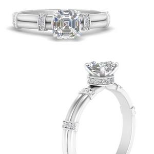 Asscher Cut Diamond Side Stone Rings