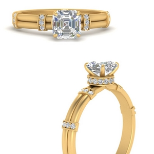 Asscher Cut Side Stone Rings