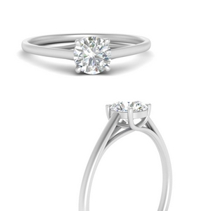 Man Made Diamond Thin Solitaire Ring