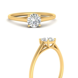 Simple Modern Thin Solitaire Ring