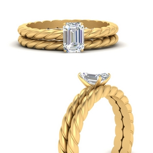 Rope Style Solitaire Wedding Set