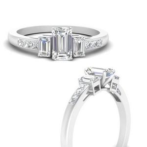 Emerald Cut Side Stone Moissanite Rings