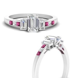 Emerald Cut Side Stone Lab Diamond Rings