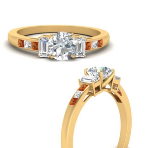 channel-set-3-stone-round-cut-engagement-ring-with-orange-sapphire-in-FDENS207RORGSAORANGLE3-NL-YG