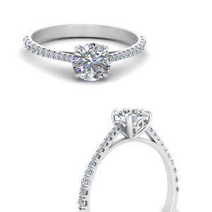 Graduated French Pave Diamond Ring