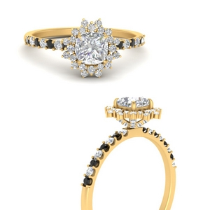 floral-art-deco-cushion-cut-engagement-ring-with-black-diamond-in-FDENS3149CURGBLACKANGLE3-NL-YG