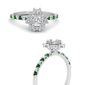 Floral Art Deco Emerald Ring