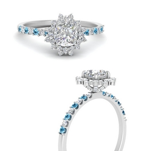 Art Deco Cushion Cut Engagement Ring