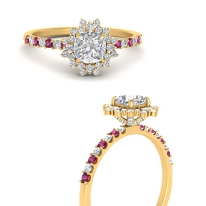 floral-art-deco-cushion-cut-diamond-engagement-ring-with-pink-sapphire-in-FDENS3149CURGSADRPIANGLE3-NL-YG