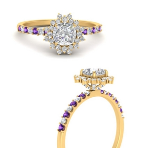floral-art-deco-cushion-cut-diamond-engagement-ring-with-purple-topaz-in-FDENS3149CURGVITOANGLE3-NL-YG