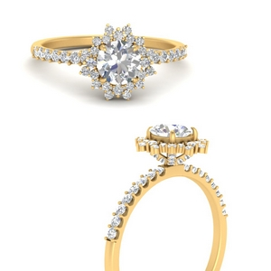 18K Yellow Gold Round Cut Halo Rings
