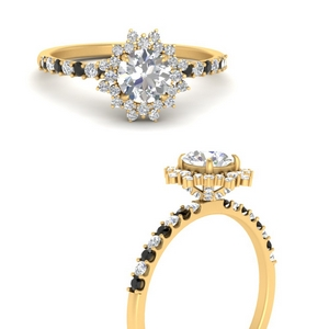 floral-art-deco-round-cut-engagement-ring-with-black-diamond-in-FDENS3149RORGBLACKANGLE3-NL-YG