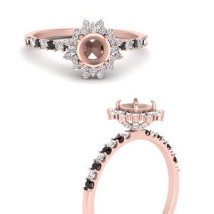 Floral Art Deco Ring Setting Only